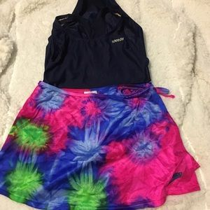 Speedo Girls Navy Swimsuit and Tie Dye Sarong